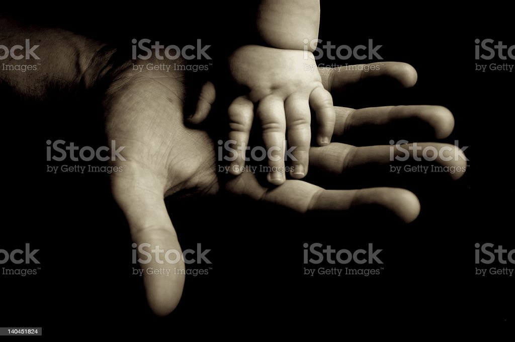 Close-up of father and baby's hands together stock photo