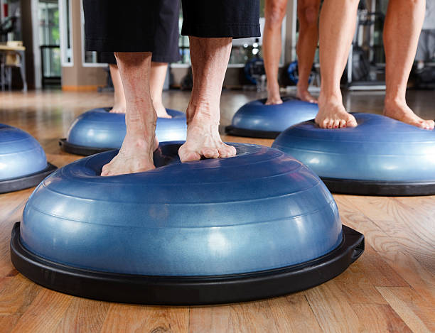 Close-up of feet in a Pilates Class stock photo