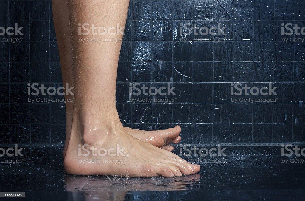 Elegant Closeup Of Feet In Shower Royalty Free Stock Photo