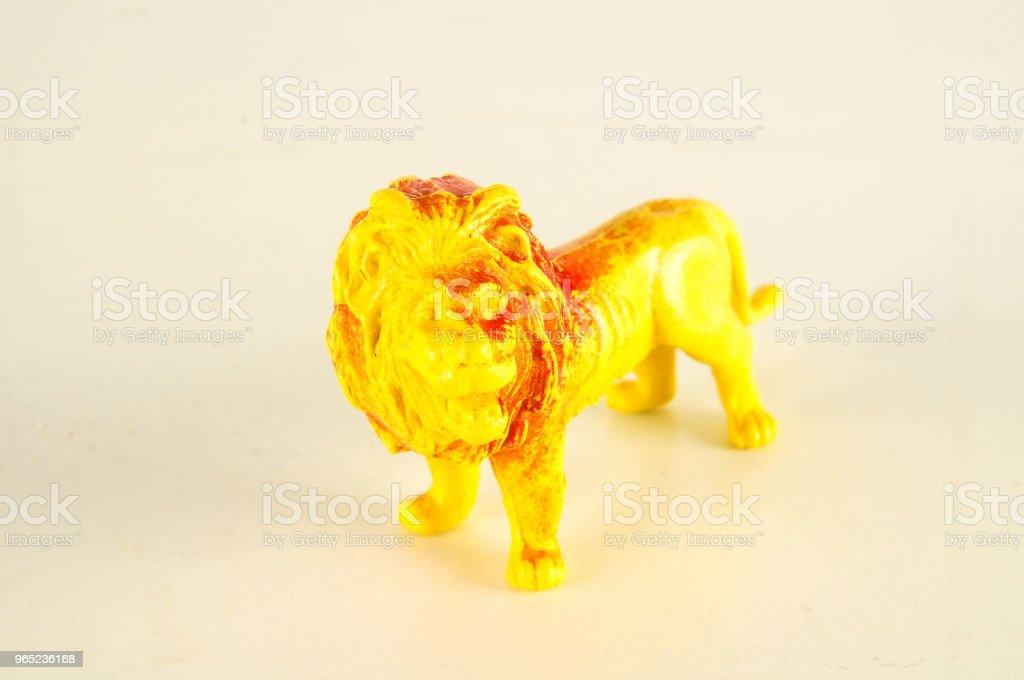 Close-up of feline cat lion plastic animal zbiór zdjęć royalty-free
