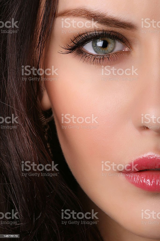 closeup of  female face stock photo