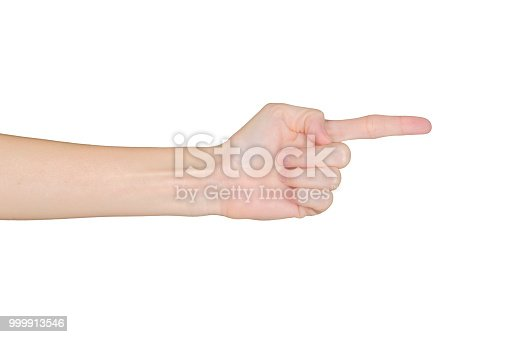 istock Closeup of female hand pointing, isolated on white background 999913546
