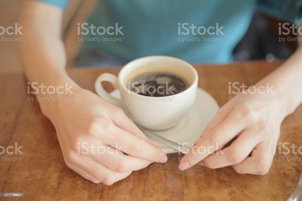 Closeup of female hands holding a mug. royalty-free stock photo