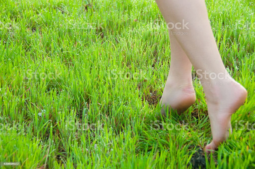 Close-up of female legs walking on green grass barefoot стоковое фото
