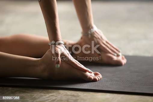 istock Closeup of female palms on heels, Camel pose 839967088