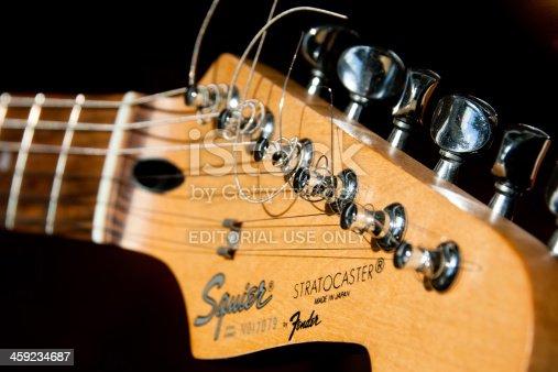 Manchester, United Kingdom - April 11, 2011: Closeup of Fender Stratocaster Guitar