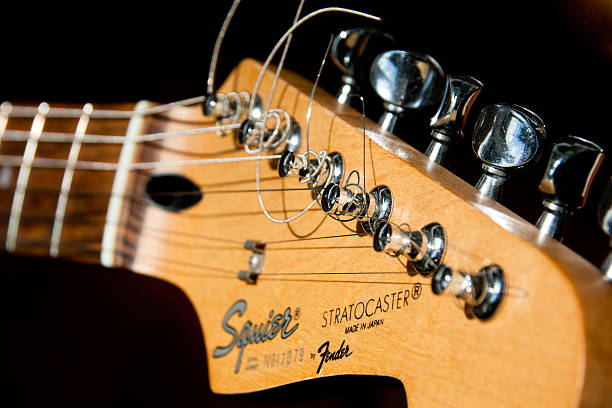 Closeup of Fender Stratocaster Guitar stock photo