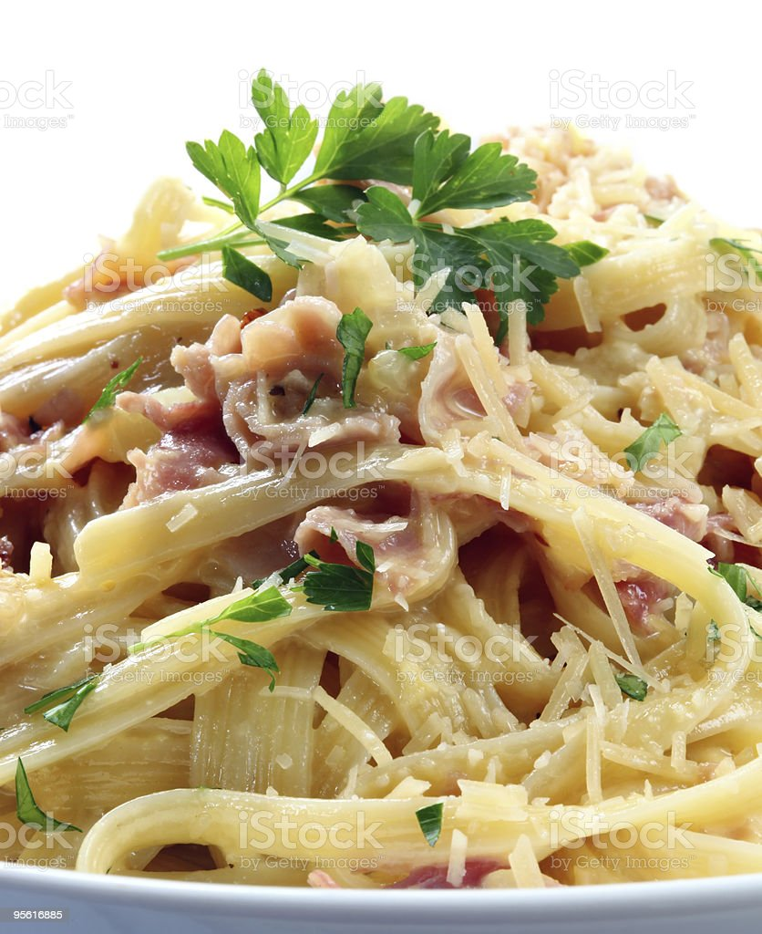 A closeup of fettuccine carbonara royalty-free stock photo