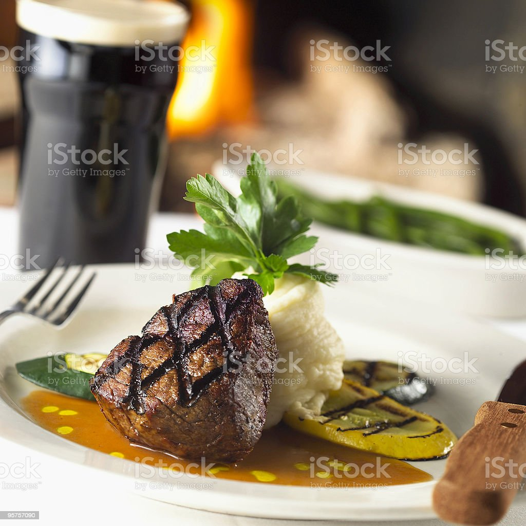 Close-up of filet mignon and mashed potatoes on a plate stock photo