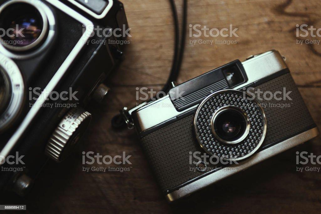 Closeup of film camera stock photo