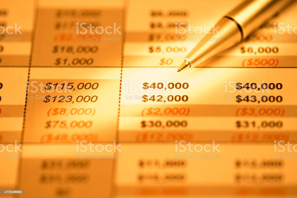 Close-up of Financial Report stock photo