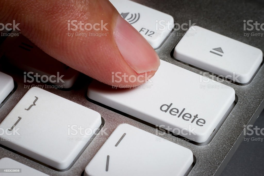 Closeup of finger on delete key in a keyboard. stock photo