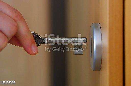 Hand holding key (with key hole)