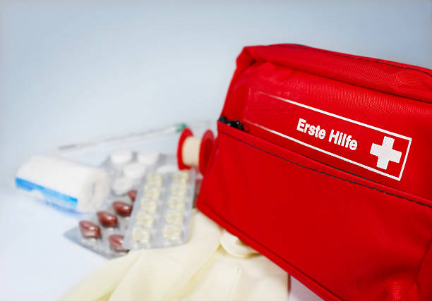 Close-up of first aid supplies on a red bag stock photo