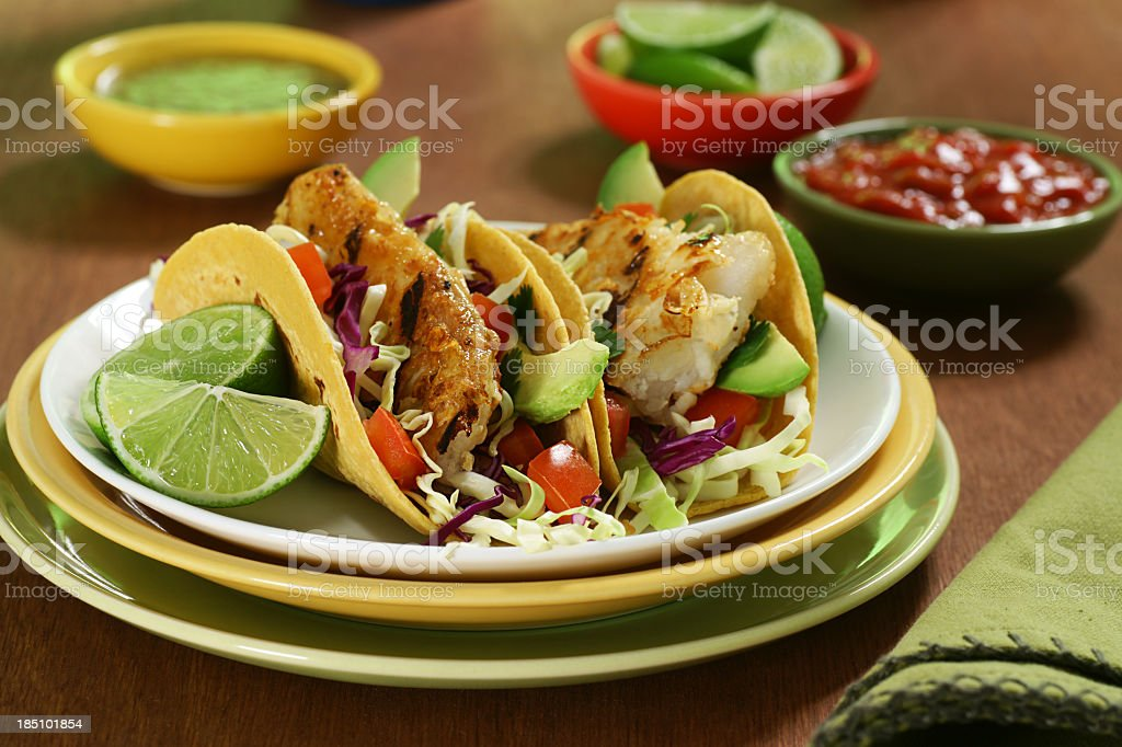 Closeup of fish tacos on plate stock photo