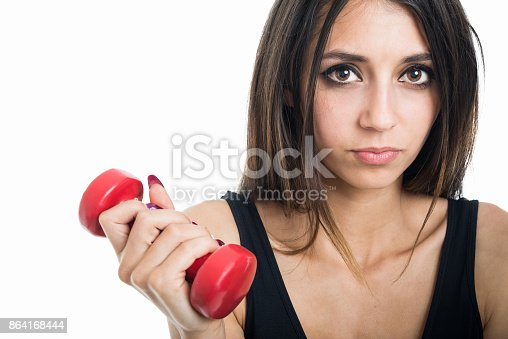 Closeup Of Fit Girl Holding Red Dumbbell Stock Photo & More Pictures of Adult