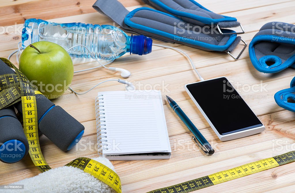 Closeup Of Fitness Equipment And Healthy Nutrition stock photo