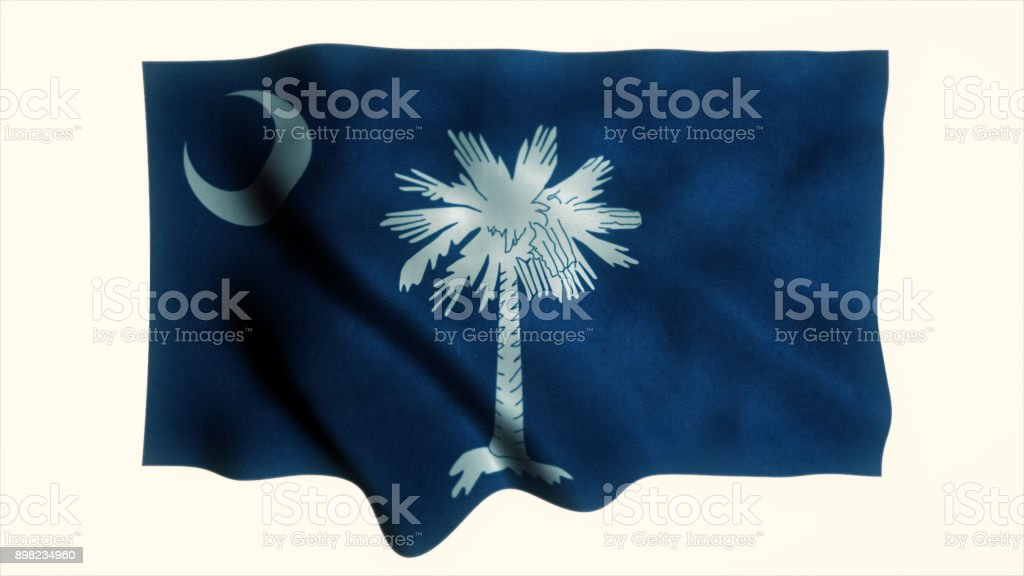 Close-up of flag of South Carolina stock photo