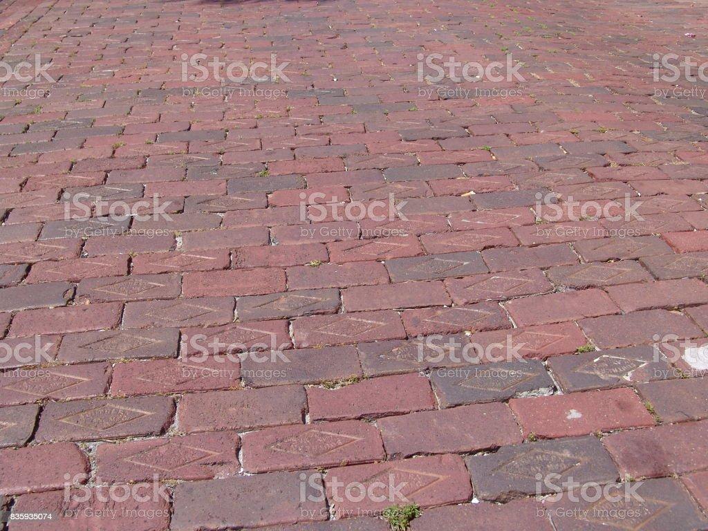 Closeup of Florida brick street stock photo