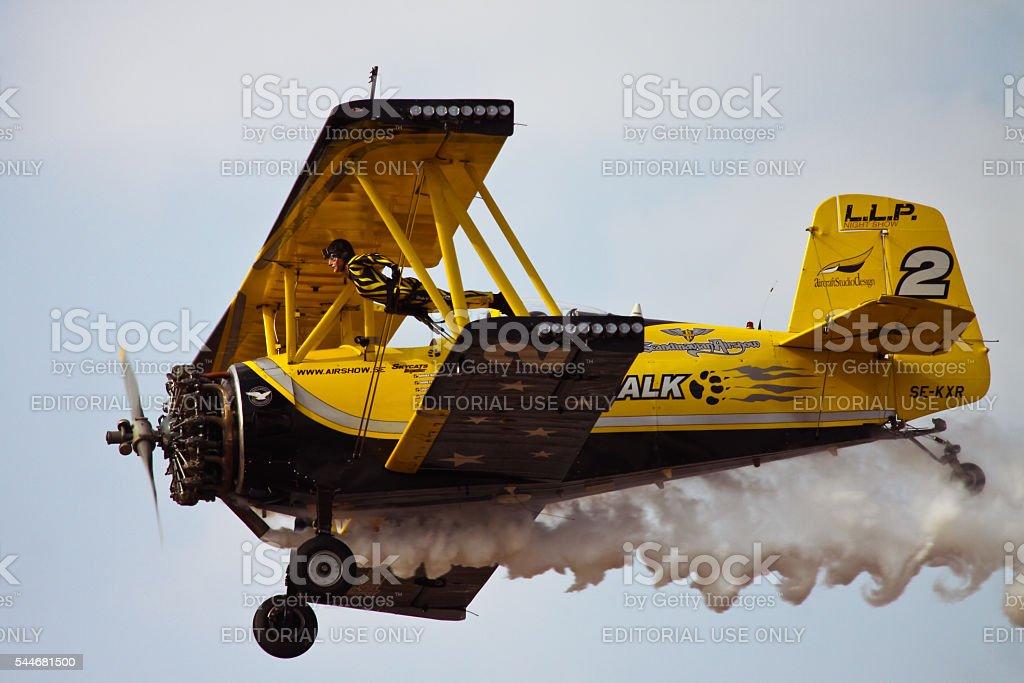 Closeup of flying wingwalker stock photo