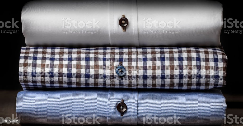 Close-up of Folded Men's Shirts stock photo
