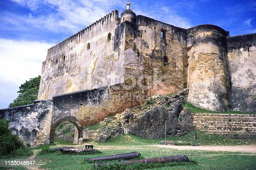 Closeup of Fort Jesus and ancient fortress walls in Mombassa Kenya Africa
