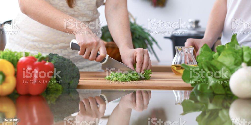 4 つの人間の手のクローズ アップ、台所で調理しています。友人は、新鮮なサラダを準備している間楽しい時を過します。ベジタリアン、健康的な食事と友情の概念 ストックフォト