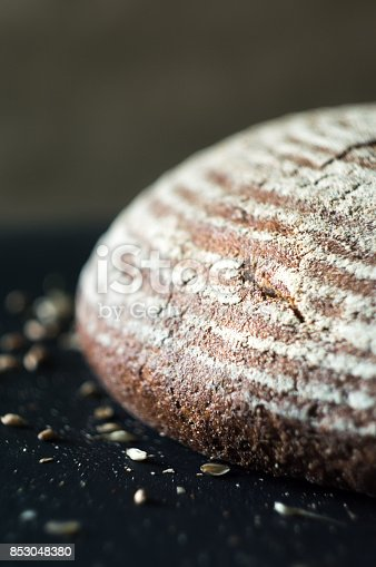 913749618 istock photo Close-up of fresh and crusty sourdough artisan bread 853048380