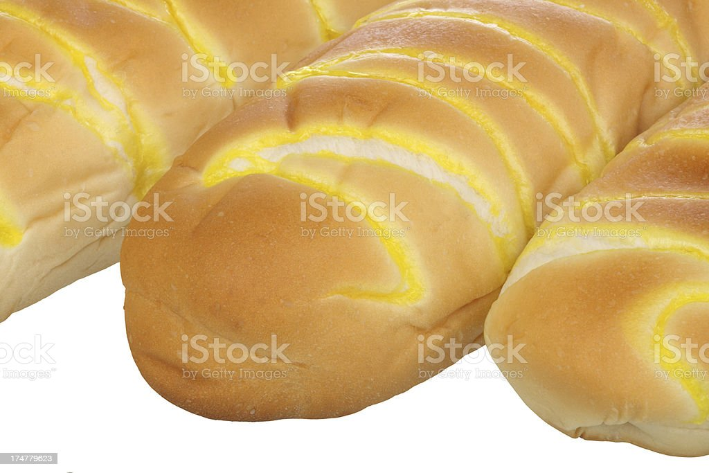 Close-up of fresh bread on white background royalty-free stock photo