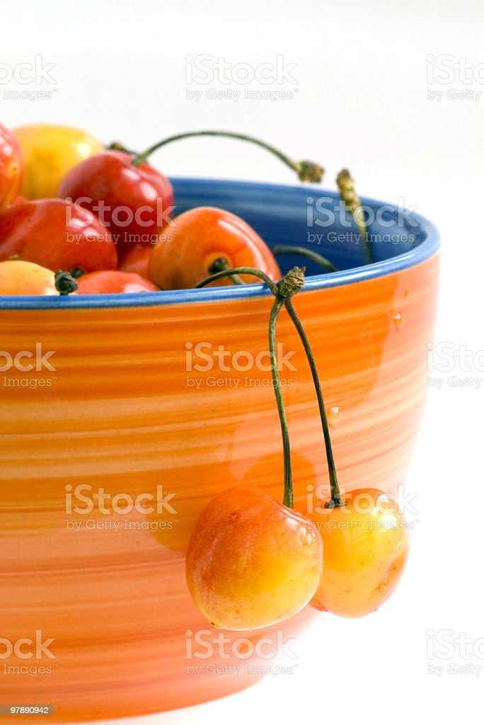 Close-up of fresh cherry in bowl royalty-free stock photo