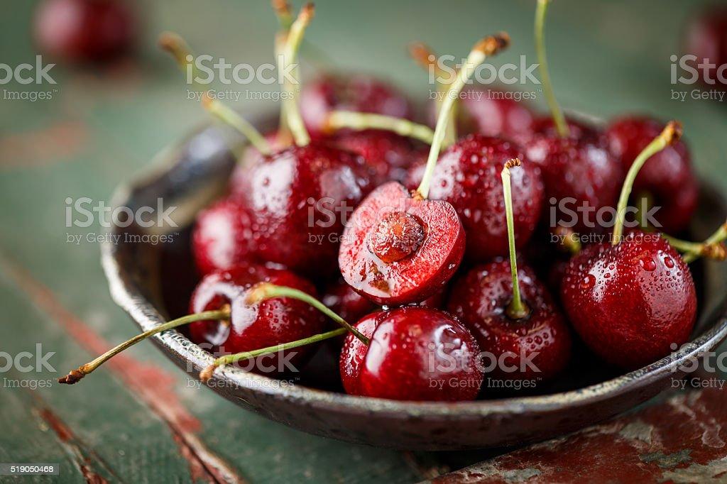 Close-up of fresh Cherry stock photo