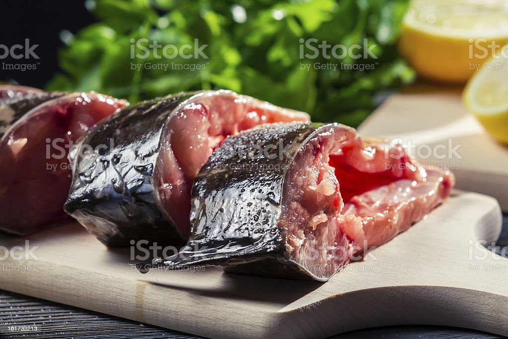 Close-up of fresh fish preparation for frying royalty-free stock photo