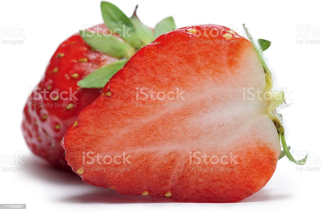 Close-up of fresh juicy strawberries in white background royalty-free stock photo