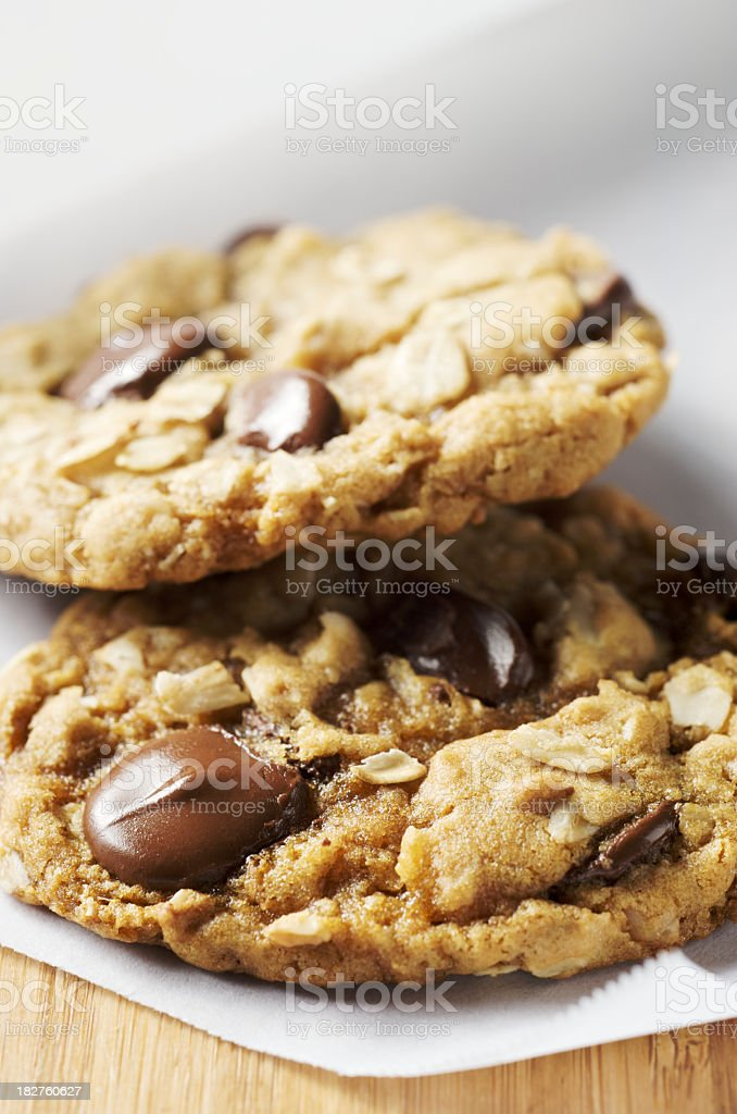 Close-up of fresh oatmeal chocolate chip cookies royalty-free stock photo