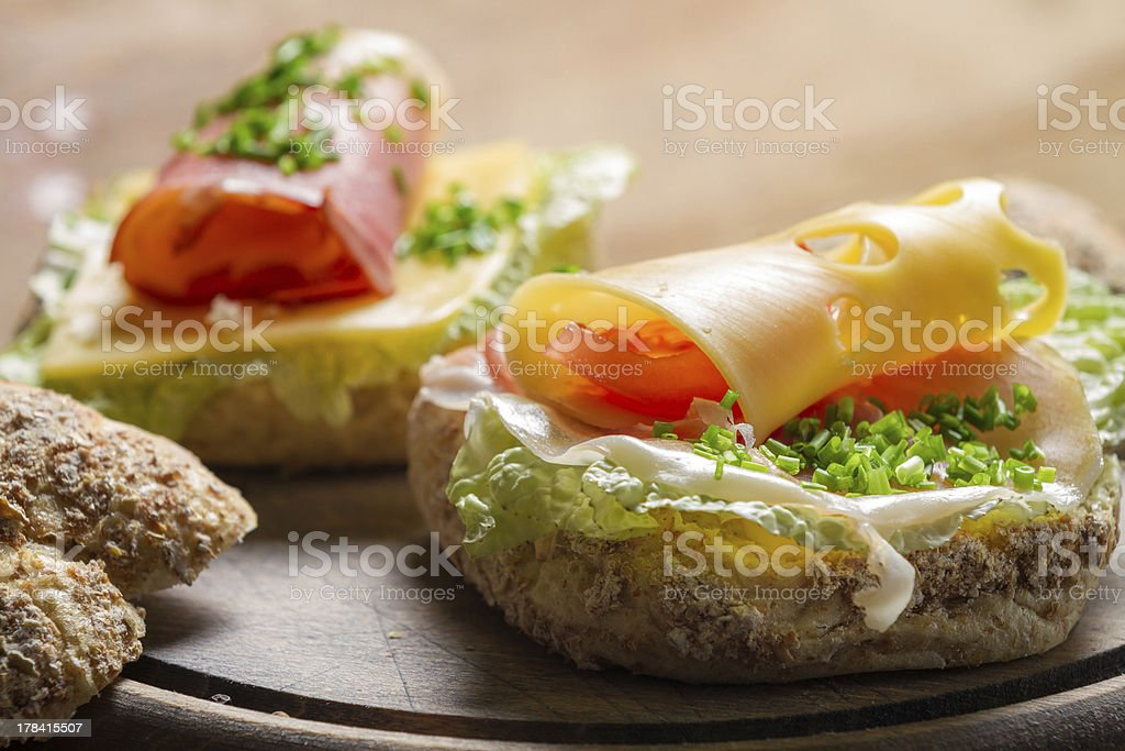 Closeup of fresh sandwich with ham and cheese royalty-free stock photo