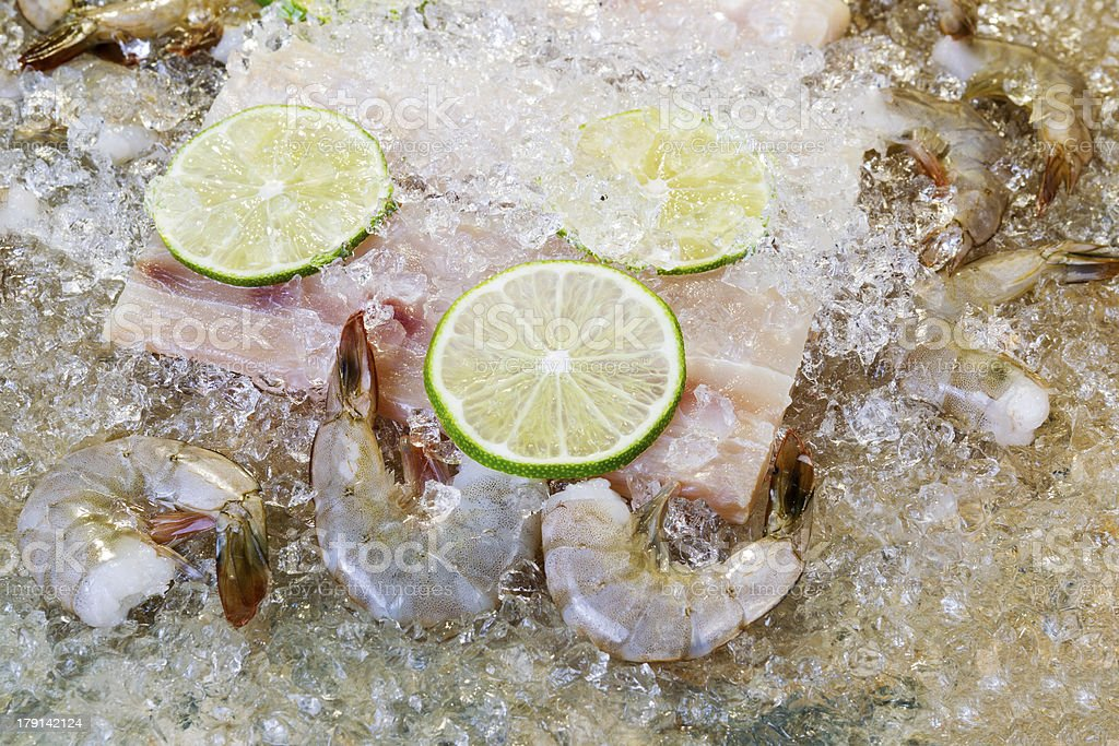 Closeup of fresh seafood on ice royalty-free stock photo