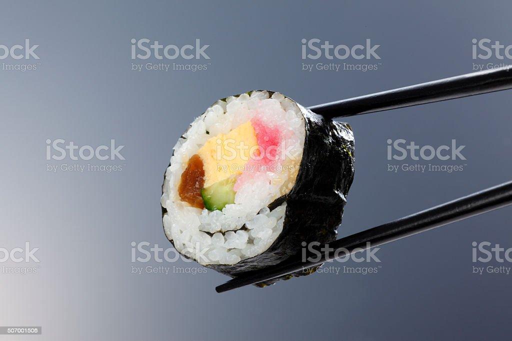Closeup of fresh sushi/rolled sushi stock photo