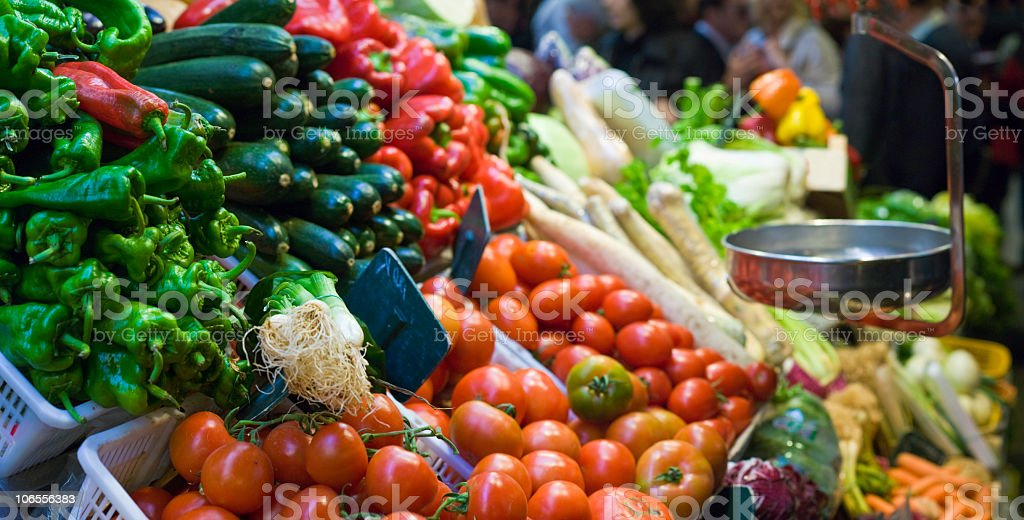 Close-up of fresh vegetables in grocery store with scale  stock photo