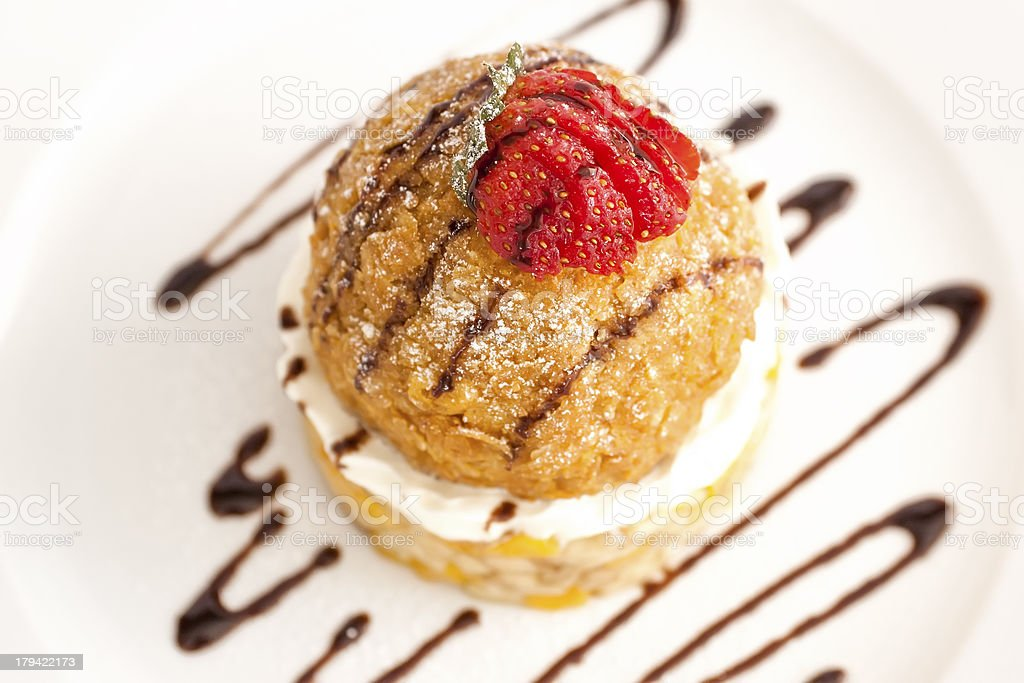 Close-up of fried ice cream dessert stock photo