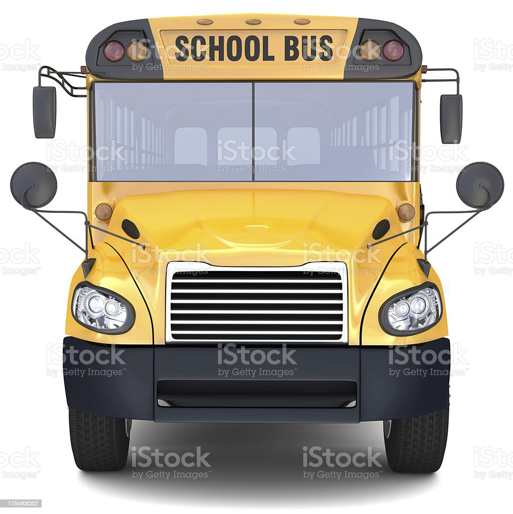Close-up of front of yellow school bus on white background stock photo