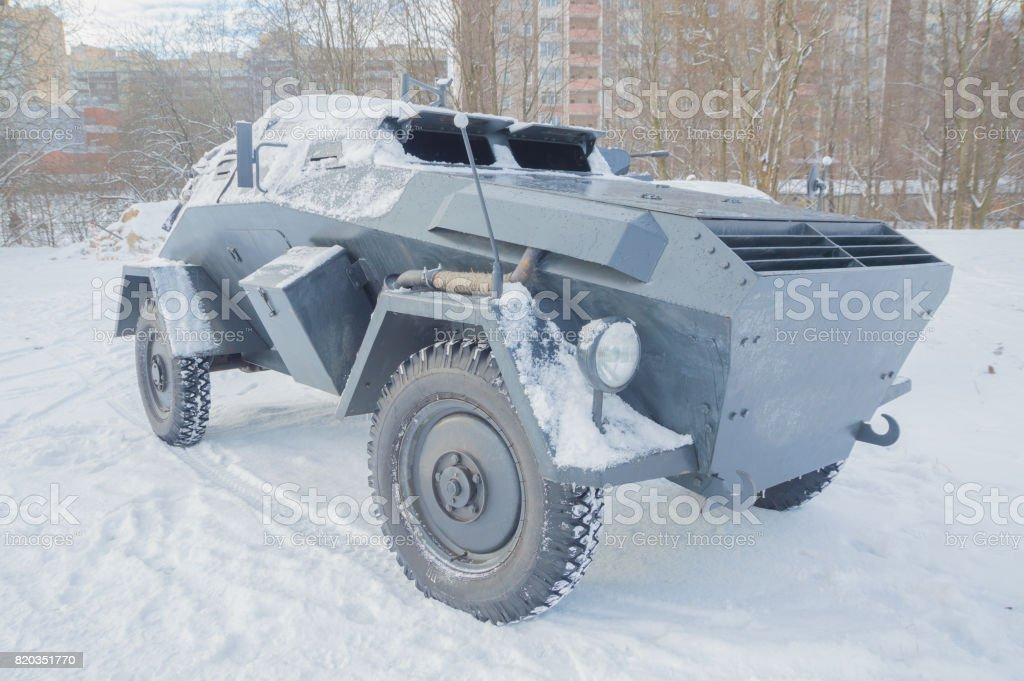closeup of front view of German armored personnel carrier stock photo