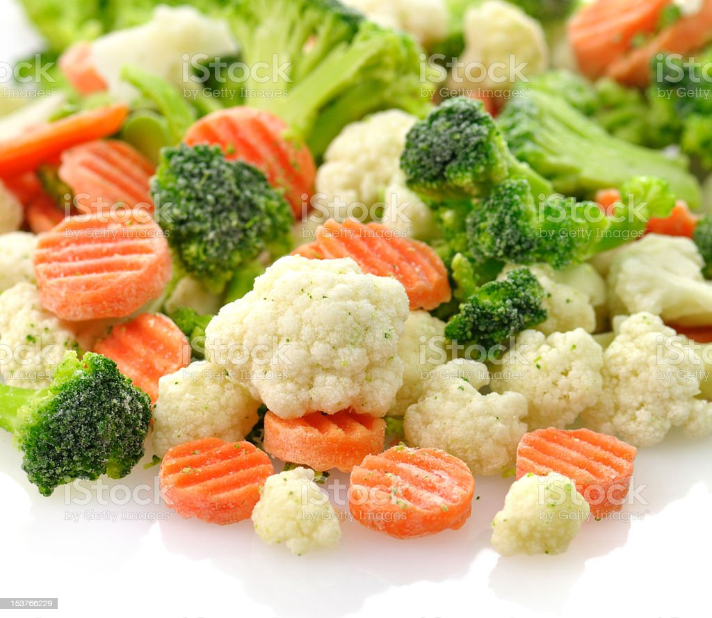Close-up of frozen carrots, broccoli, and cauliflower royalty-free stock photo