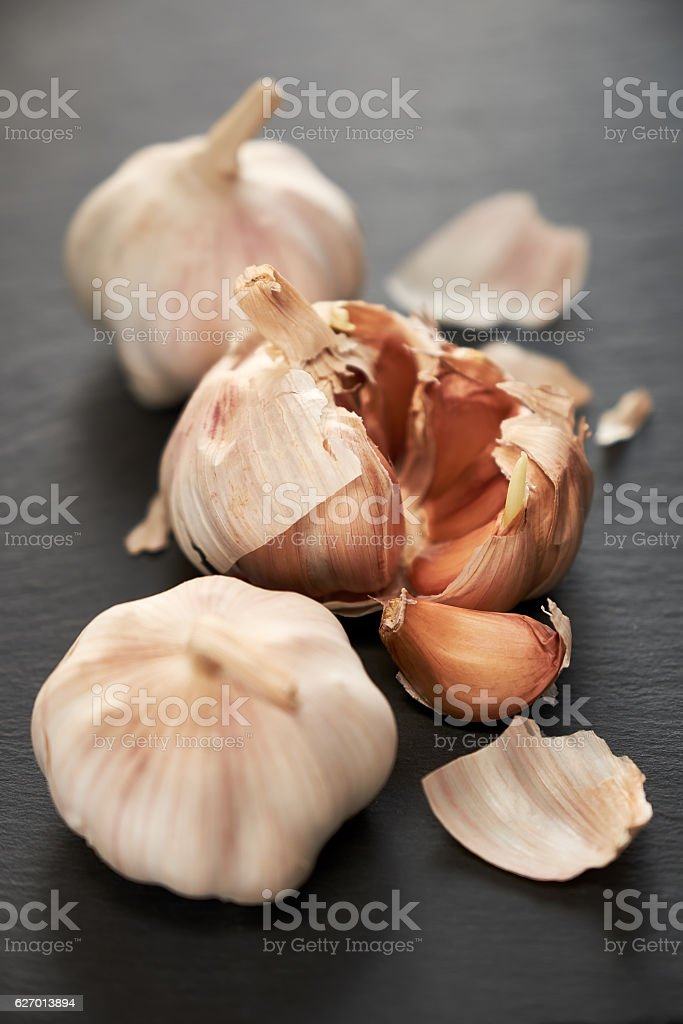 Closeup of garlic group stock photo