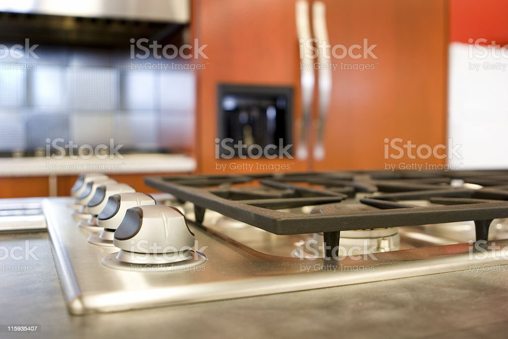 Close-up of gas range with burners turned off stock photo