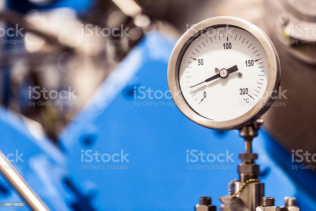 Close-up of gauge on machinery at factory stock photo