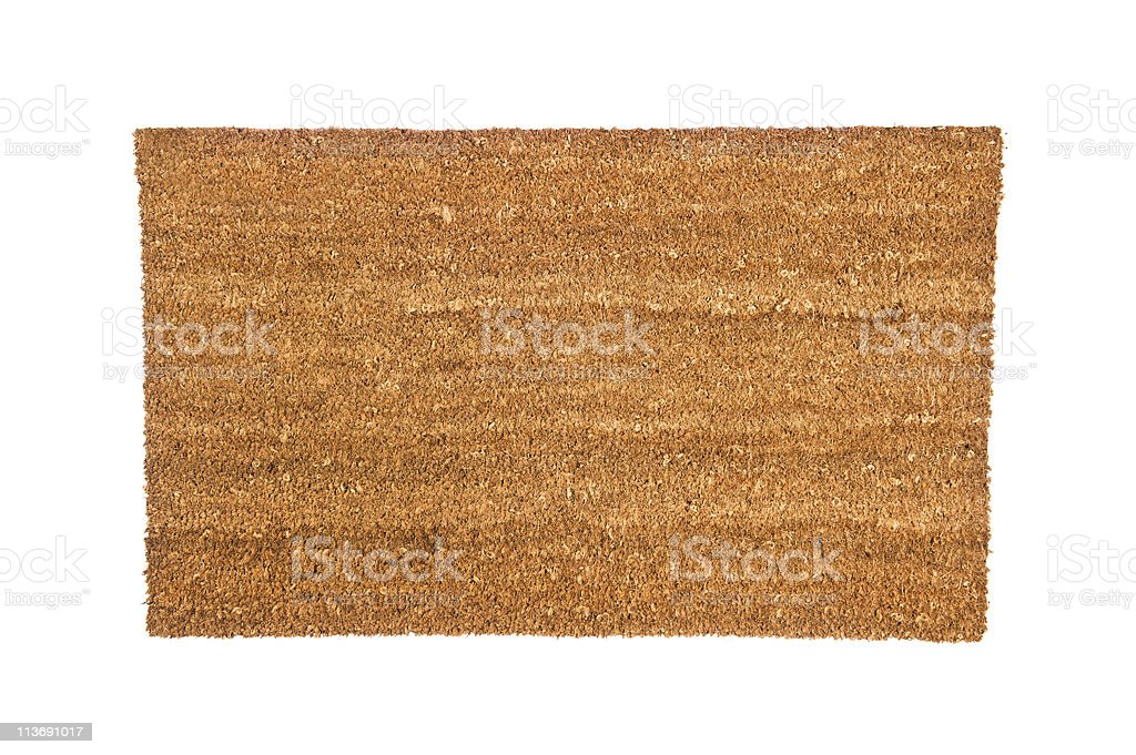 Close-up of generic doormat on white background stock photo