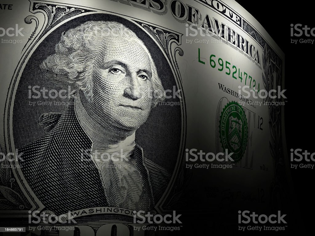 Close-up of George Washington on a dollar bill stock photo