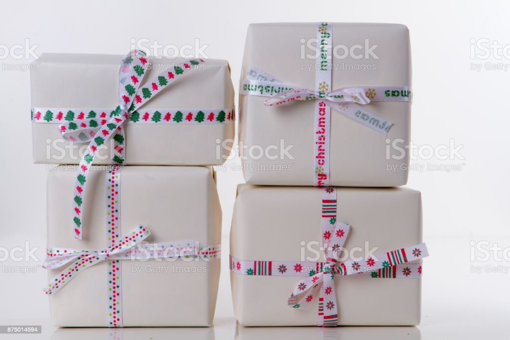 Close-up of gift boxes stock photo
