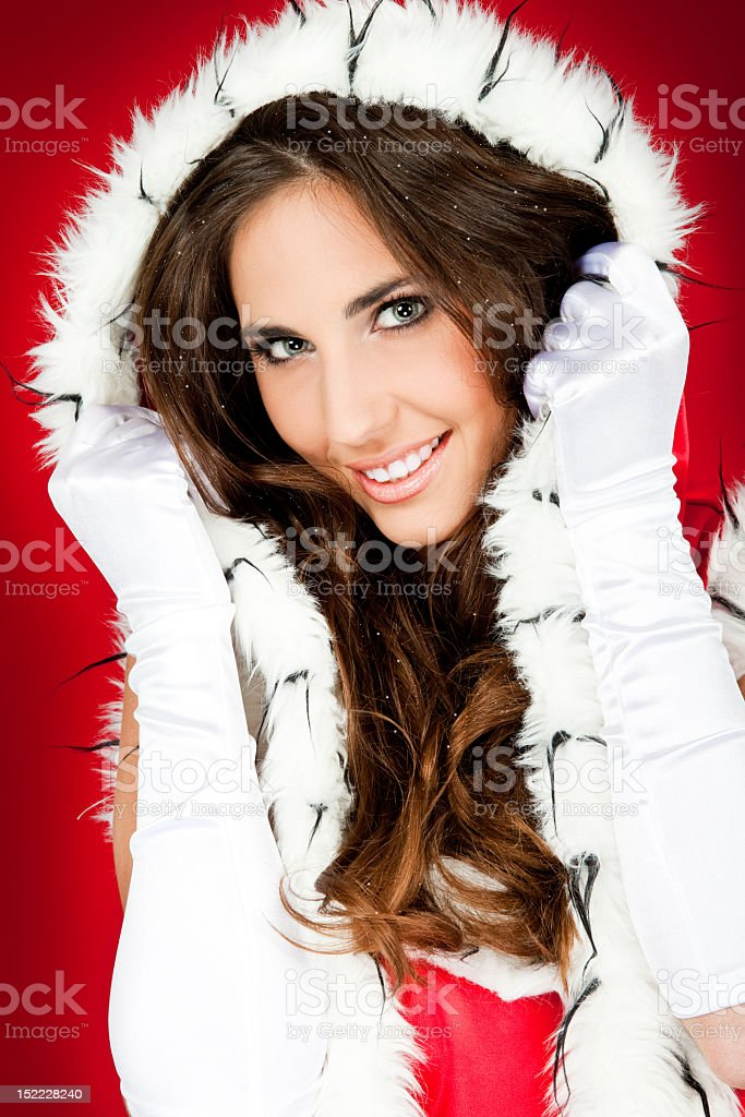 close-up of girl in santa claus clothes royalty-free stock photo