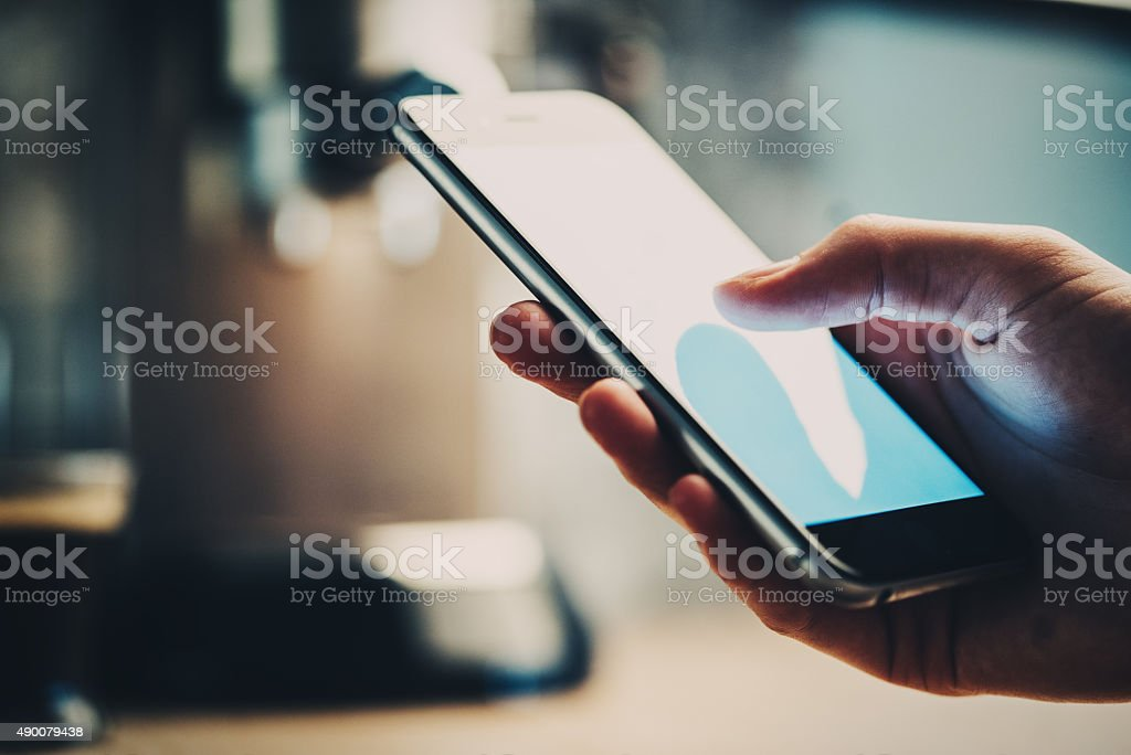 Closeup of girl texting some message and sending photo stock photo